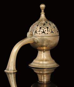 AN OTTOMAN BRASS INCENSE BURNER, TURKEY, 18TH CENTURY