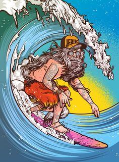 Illustration - JEBUS - Riding Giants by Musketon , via Behance Surfboard Art, Skateboard Art, Art And Illustration, Arte Do Hip Hop, Digital Foto, Surf Art, Arte Pop, Psychedelic Art, Wallpaper