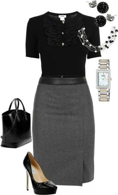 Black short-sleeve blouse, grey pencil skirt, black pumps -- work / professional outfit