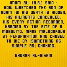 Imam Ali (a.s.) Said : How wretched the son of Adam is! His death is hidden his ailments concealed his every action recorded harmed by the bite of a mosquito made malodorous by perspiration and caused to die by [something as simple as] choking.(Ghorar al-Hikam) #ImamAli #ghorar_al_hikam