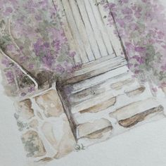 watercolour illustration by Natasha Gardos #wip #stoop #overgrown #illustration #watercolor #sketchbook