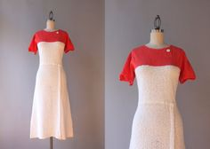 1930s Knit Dress / Vintage 30s Cotton Knit by HolliePoint on Etsy
