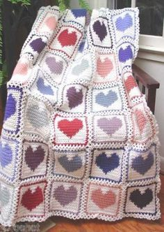 Scrap Hearts Afghan Pattern PA658 by Maggie's Crochet, via Flickr