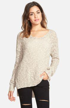 Sun & Shadow Marled V-Neck Sweater (Juniors)