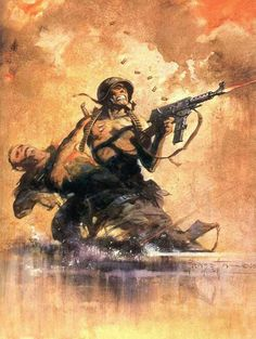 Frank Frazetta art for Blazing Combat!