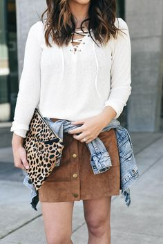 Lace up + button front skirt.