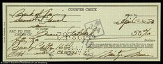 Money money money: Another item up for sale is a check Marilyn wrote and signed...