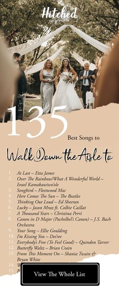 135 of the Best Bride Entrance Songs For Every Kind of Bride That emotional moment you walk down the aisle to meet your partner deserves an epic soundtrack! We've got 135 bride entrance songs to inspire you Wedding Aisle Songs, Perfect Wedding Songs, Wedding Song List, Wedding Music, Dream Wedding, Wedding Playlist Music, Songs For Wedding Ceremony, Wedding Reception Playlist, Wedding Inspiration
