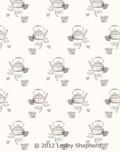 Free Printable Dollhouse Wallpaper Designs with Teapots and Teacups: Cream Backdrop Teapot and Teacup Dollhouse Scale Wallpaper and Fabric Designs