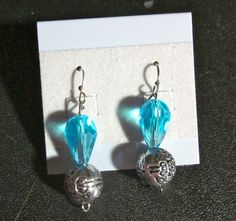 blue and silver earrings  10.00$