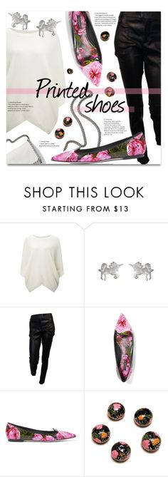 """""""Printed shoes"""" by addorajako on Polyvore featuring Maje, STELLA McCARTNEY, Dogeared, Givenchy, Dolce&Gabbana and printedshoes"""