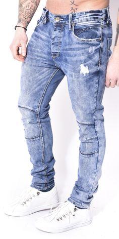 Jeans effet destroy à surpiqûres