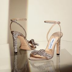 """Jimmy Choo: """"Tie the knot—in crystal. The THYRA 100 two strap sandals take all the trophies in nude suede and encrusted crystals Stilettos, Stiletto Heels, Sexy Heels, Two Strap Sandals, Ankle Strap, Bridal Heels, Beautiful High Heels, Pretty Heels, Crystal Shoes"""