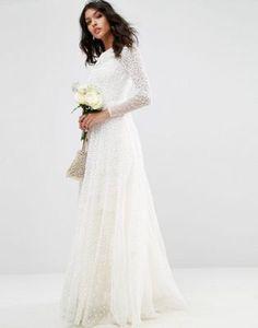 ASOS BRIDAL Embellished Long Sleeve Maxi Dress