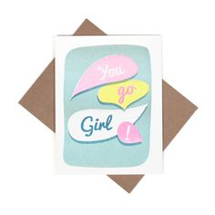 You Go Girl Risograph note card by SmartyPantsPaperCo on Etsy