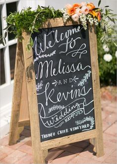 Chalkboard signs are all the rage, So here's a great tutorial on how to add signage to your wedding that wont break the bank. Photo by Chis + Jenn.