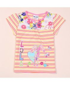 V Neck Patchwork Striped Summer Basic Casual Cotton Baby Girls t Shirt Floral Print