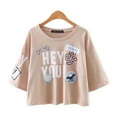 Type: Tees Style: Fashion Collar: O-Neck Pattern Type: Letter Material: Cotton, Polyester Fabric Type: Jersey Decoration: None Sleeve Length(cm): Short Clothing Length: Regular Sleeve Style: Regular Size Length (cm) Chest (cm) Sleeve (cm) Shoulder (cm) S 43 98 23 47 M 45 102 24 48 L 47 106 25 49