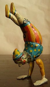 Antique German Tin Toy Mechanical Clown Acrobat