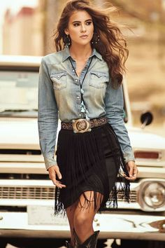 Smokin' Fall Fashion from Rock & Roll Cowgirl - Cowgirl Magazine Womens denim button up top, black fringe mini skirt, western boots, western belt with buckle. western boots Smokin' Fall Fashion from Rock & Roll Cowgirl - Page 5 of 12 Western Outfits Women, Cowgirl Style Outfits, Rodeo Outfits, Country Outfits, Cowgirl Fashion, Cowgirl Dresses With Boots, Cowgirl Look, Western Style Dresses, Gypsy Cowgirl