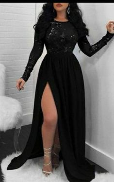 Plain Dress, Maxi Dress With Slit, Black Dress With Sleeves, Black Dress Long Sleeve, Long Black Evening Dress, Sexy Lace Dress, Black Sequin Dress, Black Sequins, Prom Outfits