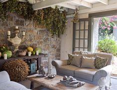 indoor/outdoor space - more interior stonework...love!