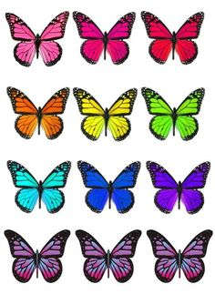 Wafer paper (rice paper) : teoria , tutorials e templates Butterfly Painting Easy, Butterfly Clip Art, Butterfly Drawing, Butterfly Template, Butterfly Wallpaper, Butterfly Pictures, Colorful Butterfly Tattoo, Cute Pokemon Wallpaper, Mirror Painting