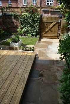 decking and pavers Herb Garden, Garden Paths, Garden Landscaping, Back Garden Design, Yard Design, Back Gardens, Small Gardens, Small Garden Inspiration, Garden Ideas