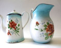 French enamelware set . Coffee pot . Jug pitcher.  Country chic  decor