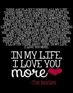 Details About In My Life The Beatles Song Lyrics Quote 8x10 Print Wall Art Decor Couples