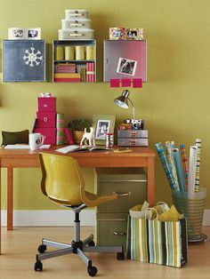 Create a clutter-free workspace using small storage containers for extra papers and supplies.