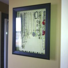 Hanging jewelry case from a shadow box. Took me 30 mins to make!