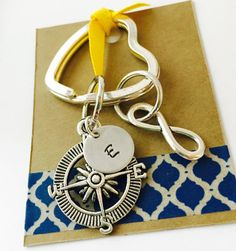 Compass Keychain No Matter Where Key Chain Hand Stamped Infinity Keychain  Best Friends Key Chain  Mother Daughter Keychain Forever Keychain