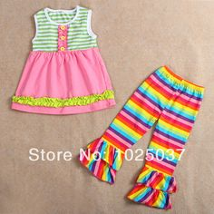 Find More Clothing Sets Information about Cotton Top Dress Rainbow Capris With Double Ruffle In Set   Baby Girls Ruffle Clothing Set  Free Shipping,High Quality Clothing Sets from kaiya angel clothing factory on Aliexpress.com