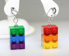 Lego Jewelry Rainbow Earrings Unique Retro & by ToyBoxJewellery Funky Earrings, Unique Earrings, Diy Earrings, Earrings Handmade, Handmade Jewelry, Fashion Earrings, Lego Jewelry, Cute Jewelry, Jewelry Crafts