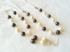 Chocolate & Ivory Jewelry Set Brown Necklace by InfinityByClaire, £15.00