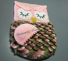 Baby cocoon and cap pink owl by GrammiesHats on Etsy