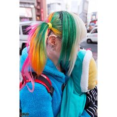 Rainbow Hair, Tongue Piercings, Yellow Boots Plush Chick in Harajuku ❤ liked on Polyvore featuring hair