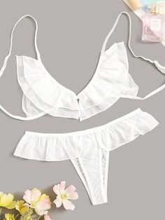 To find out about the Ruffle Detail Sheer Lingerie Set at SHEIN, part of our latest Sexy Lingerie ready to shop online today! Sheer Bra, Sheer Lingerie, Lingerie Sleepwear, Lingerie Set, Women Lingerie, Delicate Lingerie, Sewing Lingerie, Fast Fashion, Fashion News