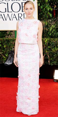 Not always a fan of Sienna Miller's fashion choices but this was pretty while a bit quirky. Not too too serious.  Love that it is two piece.