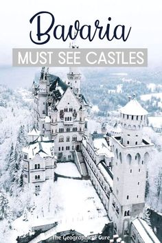 Planning a trip to Germany? You simply must put the castles of Mad King Ludwig II in Bavaria on your itinerary for Germany. These are some of the most romantic and beautiful castles and palaces in Europe. Many of these German castles are easy day trips from Munich. Some of them can be combined on a single day trip, like Neuschwanstein and Hohenschwangau. Germany Travel | Germany Road Trips | Germany Itineraries | Munich Day Trips | Online Learning | Virtual Tours | Europe Travel | #Bavaria Road Trip Europe, Road Trips, Cool Places To Visit, Places To Travel, Germany Castles, Neuschwanstein Castle, Fairytale Castle, Christmas Travel, Beautiful Castles