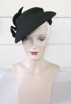 1940s Vintage Black Felt Tilt Hat with Self by MyVintageHatShop