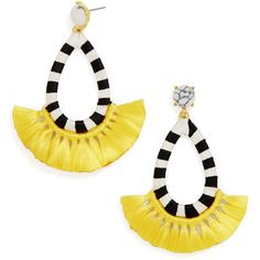 BaubleBar Sandbar Drops (€35) ❤ liked on Polyvore featuring jewelry, earrings, block earrings, fringe jewelry, yellow earrings, yellow jewelry and fringe earrings