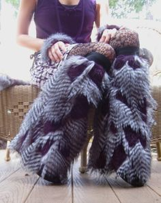 Great GREY OwL LEG WARMERS -- Purple // Grey // Black Feather faux Fur -- fluffies booties leggies unique Costume Accessory adult unisex. $38.00, via Etsy.