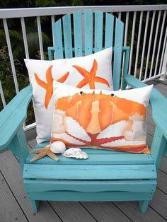 I love the crab pillow! Coastal Living Rooms, Coastal Homes, Coastal Style, Coastal Decor, Dream Beach Houses, Beach House Decor, Home Decor, Beach Art, Beach Room