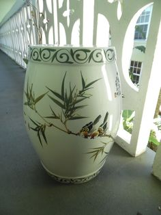 GARDEN PARTY / Beautiful Asian Garden Stool Featuring Bamboo And Birds /  Palm Beach Chic