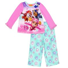 Paw Patrol Baby Girls Skye 12M Chase and Marshall 2-Piece Flannel Pajama Set