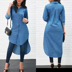 Women's Blue Jeans Denim T-Shirt Long Sleeve Casual Loose Shirt Mini Dress Latest African Fashion Dresses, Women's Fashion Dresses, Hijab Fashion, Casual Dresses, Maxi Dresses, Ladies Dresses, Mode Outfits, Chic Outfits, Blue Jeans