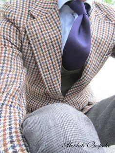 Tweed blazer, Prince of Wales pant, purple tie