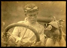 """In 1903 Horatio Nelson Jackson and driving partner Sewall K. Crocker became the first people to drive an automobile across the United States. Somewhere in Idaho, they obtained a Pit Bull named Bud. The Winton had neither a roof nor windshield, Jackson eventually fitted Bud with a pair of goggles."""